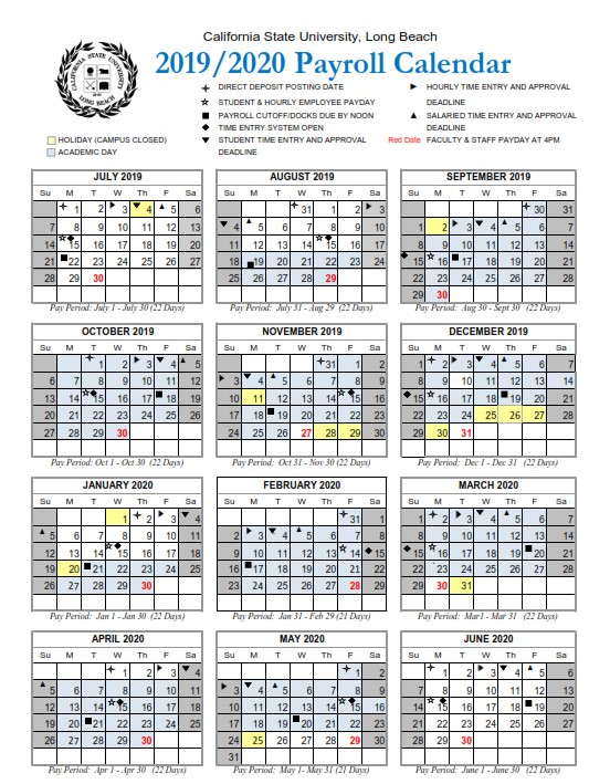 Csulb Pay Period Calendar 2020 – 2021 Pay Periods Calendar