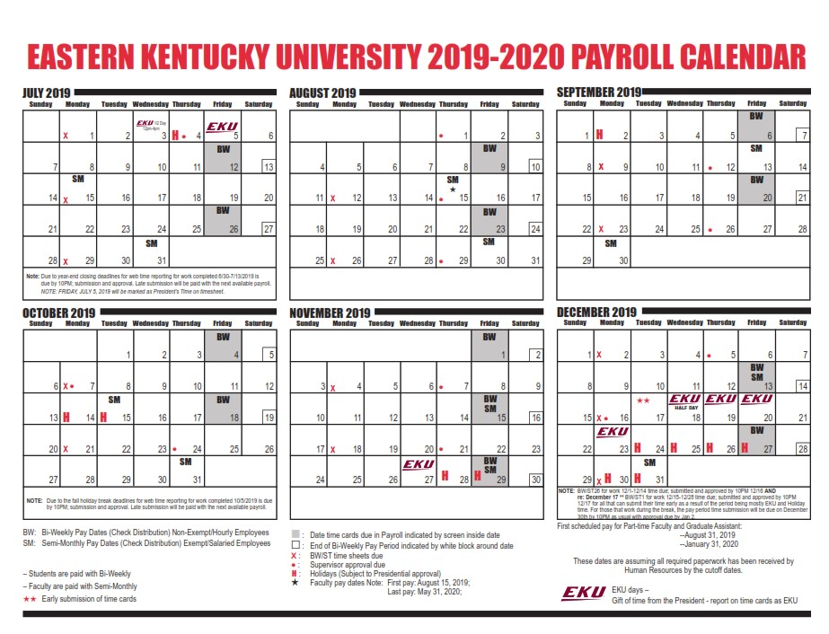 Eku Pay Period Calendar 2020 | 2021 Pay Periods Calendar