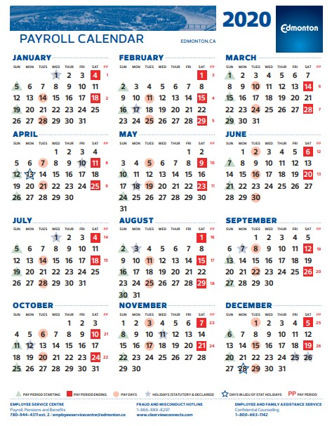 Payday Calendar 2021 Pay Period Calendar 2020 City Of Edmonton | 2021 Pay Periods Calendar