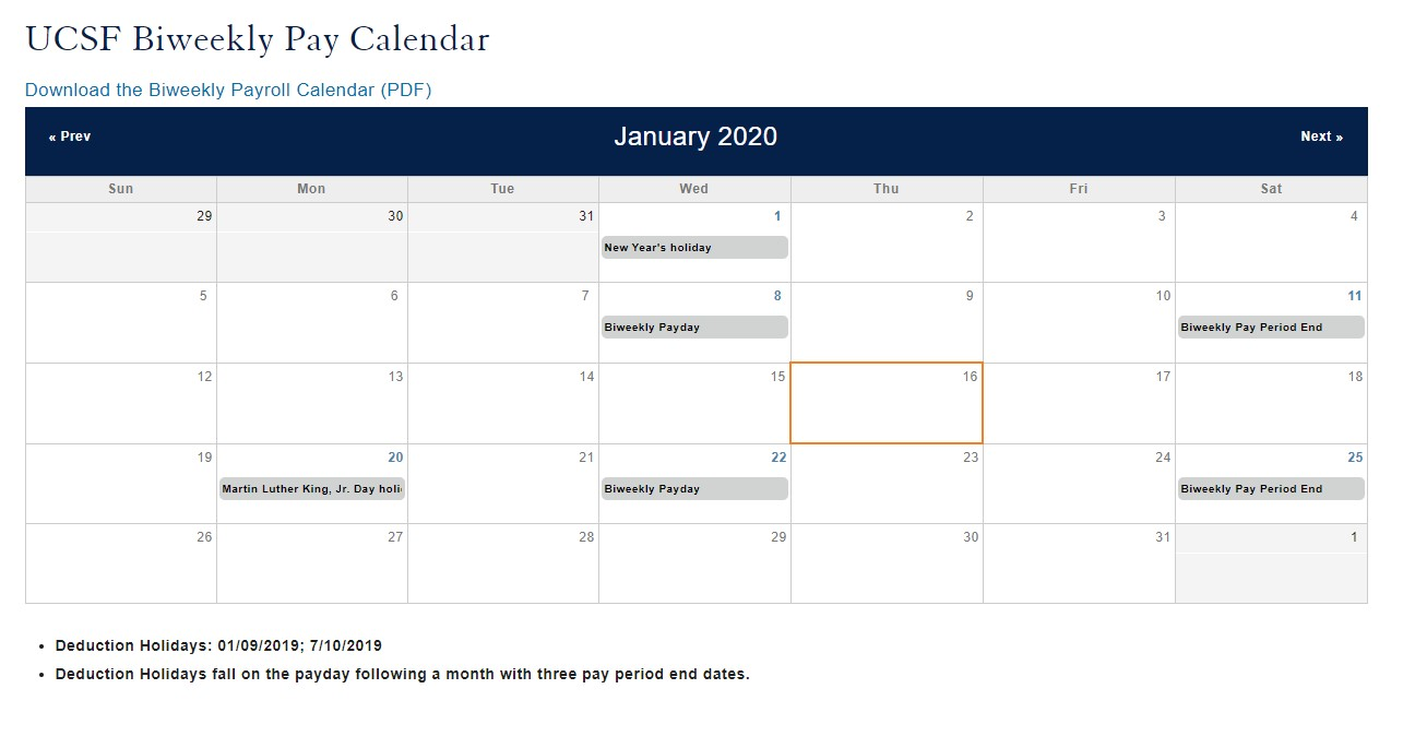 Ucsf Holiday Calendar 2021 Ucsf Biweekly Pay Period Calendar 2020 | 2020 & 2021 Pay Periods