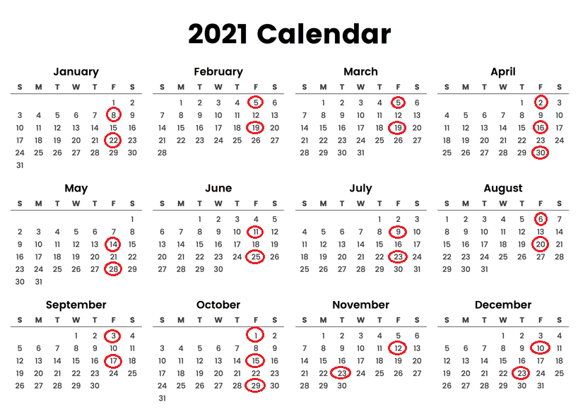 AT&T Wireless Pay Periods Calendar 2021