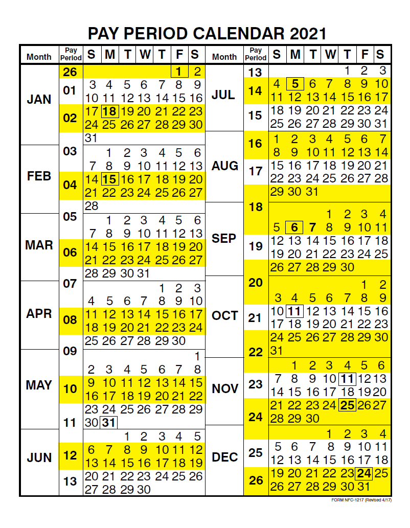 JCPenney Pay Periods Calendar 2021
